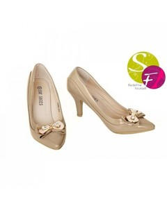 SnF Beige Synthetic Leather Elegant Stiletto For Women