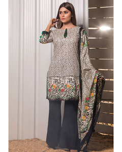 Rangreza Black Lawn Unstitched 3-Pc Suit - Volume 1 - 1a