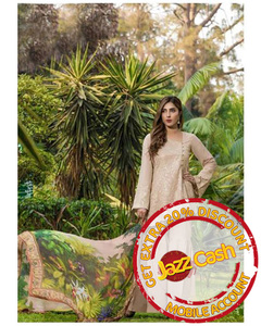 S.U.J Designers Beige Lawn Luxury Unstitched Embroidered 3-Pc Suit for Women - ZS-10