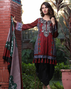 Rangreza Red Lawn Unstitched 3-Pc Suit - Volume 3 - 9a