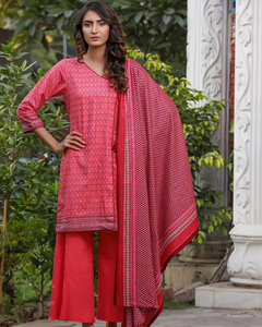 Rangreza Red Lawn Unstitched 3-Pc Suit - Volume 3 - 4a