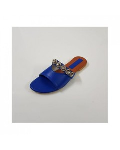 Archertees Flat Blue Rexine Buckle Slippers - At-184-6