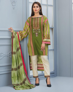 Rangreza Green Lawn Unstitched 3-Pc Suit - Volume 4 - 1a