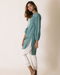 Ego Sea Green Blended Cotton Laced Stitched Kurta