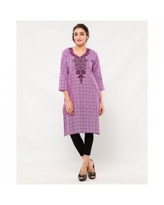 Naureen Shah Purple Cotton Self Printed Embroidered Kurta For Women