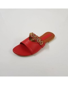 Wear IT Flat Red Rexine Buckle Slippers - WI-185-6