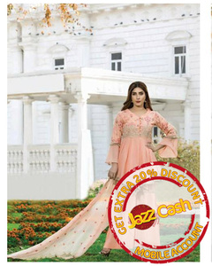 S.U.J Designers Peach Lawn Luxury Unstitched Embroidered 3-Pc Suit for Women - ZS-04