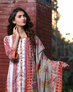 Rangreza Red Lawn Unstitched 3-Pc Suit - Volume 3 - 10a