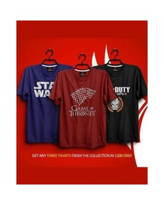 Rex Bazaar Pack Of 3 Cotton Printed T-Shirt For Him - Ts-247