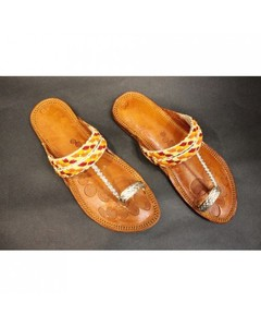 SnF Golden Leather Slippers For Women