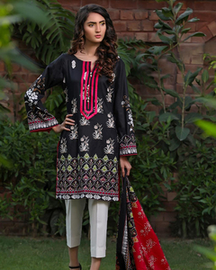 Rangreza Black Lawn Unstitched 3-Pc Suit - Volume 3 - 1a