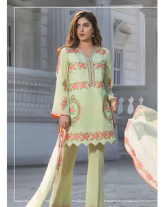 S.U.J Designers Lemon Yellow Lawn Luxury Unstitched Embroidered 3-Pc Suit for Women - ZS-07