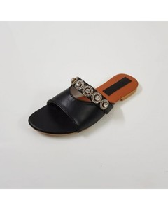 Wear IT Flat Black Rexine Buckle Slippers - WI-182-6