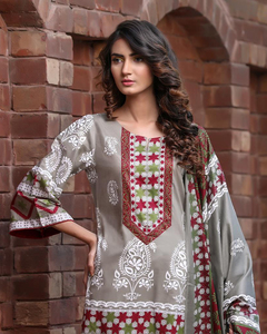 Rangreza Blue Lawn Unstitched 3-Pc Suit - Volume 3 - 3a