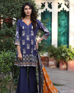 Rangreza Blue Lawn Unstitched 3-Pc Suit - Volume 3 - 1b
