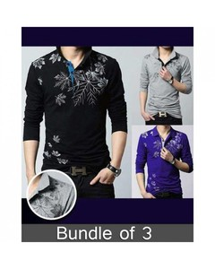 Rex Bazaar Pack Of 3 Cotton Printed Polo Shirts For Men - Ts-189