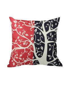 White Tree Cushion Cover - Red And Black - 45x45cm