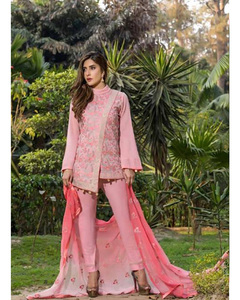 S.U.J Designers Rose Pink Lawn Luxury Unstitched Embroidered 3-Pc Suit for Women - ZS-08