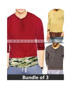 BnB Accessories Pack Of 3 Double Pattern Crew Neck Shirts - RMD-898-M