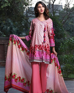 Rangreza Pink Lawn Unstitched 3-Pc Suit - Volume 3 - 8b