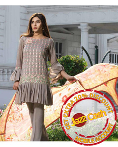 S.U.J Designers Grey Lawn Luxury Unstitched Embroidered 3-Pc Suit for Women - ZS-02