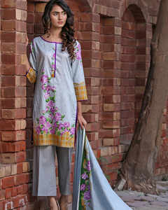 Rangreza Grey Lawn Unstitched 3-Pc Suit - Volume 3 - 2a