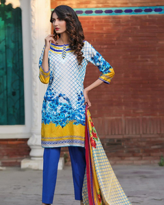 Rangreza Blue Lawn Unstitched 3-Pc Suit - Volume 3 - 8a