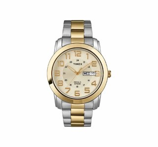 Timex Mens Highland Street Two-Tone Stainless Steel Bracelet Watch With Date & Time Features  Product No: T2N439