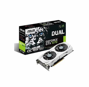 Asus DUAL-GTX1070-O8G Dual series GeForce GTX 1070 OC edition 8GB GDDR5 For Best VR, 4K Gaming & Color-Matched PC Build