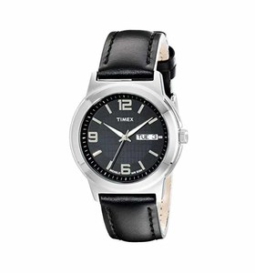 Timex Mens Elevated Classic Black Leather Strap Watch  Product No: T2E561