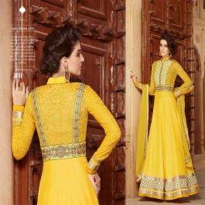 Yellow BEAUTIFUL STYLISH DESIGNER EMBROIDERED DRESS