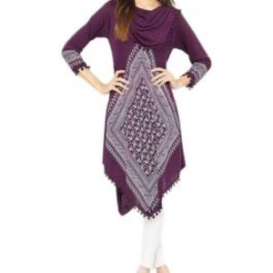 Purple Viscose Printed Tunic For Women