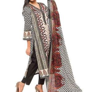 Unstitched 3 PC Printed Lawn in Extra Soft Fabric For Women