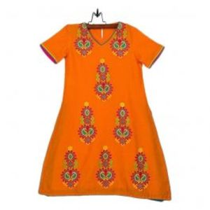 Amaze Collection Orange Cotton Embroidered Kurta for Girls