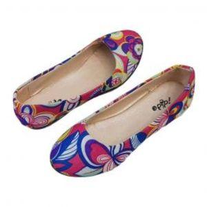 Womens Blue Flower Design Footwear