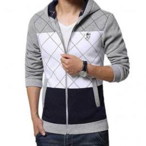 Mens Grey Fleece Zipper Hoodie