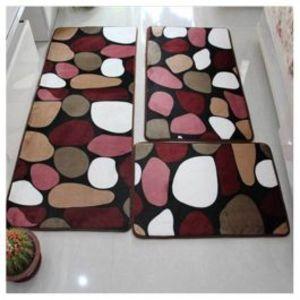 Bathroom Mat Set Anti Slip Bath Rug Stone Carpet