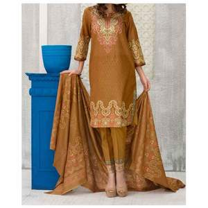 Brown Printed 3pc Unstiched Suit