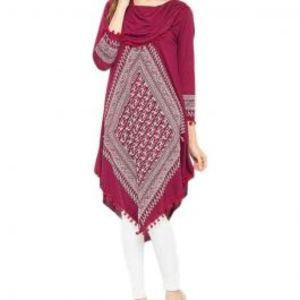 Maroon Viscose Printed Tunic For Women