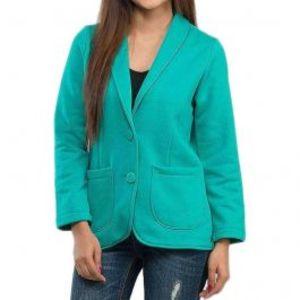 Light Green Fleece Front Open Jacket with Pocket for Women