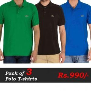 T-Shirts Pack of 3 Deal (Green  Brown  Blue)