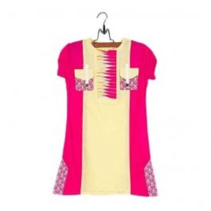 Amaze Collection Pink & Yellow Cotton Embroidered Kurta for Girls