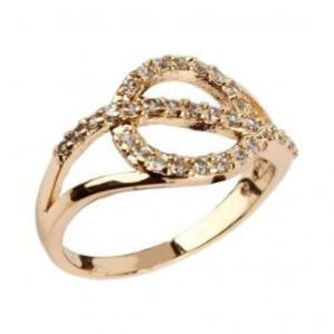 Fashion Café Zircon Embellished 24 K Gold Plated Geometric Ring