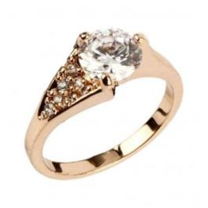 Zircon Embellished 24 K Gold Plated Ring