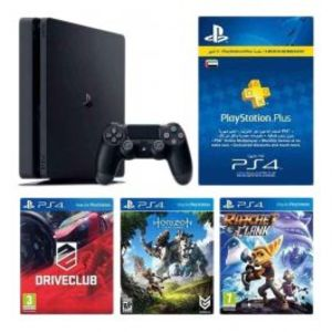 Sony Playstation 4 Bundle 500GB Horizon Zero Dawn  Ratchet & Clank  and Driveclub 3 Month Playstation Plus