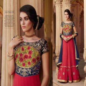 Red BEAUTIFUL STYLISH DESIGNER EMBROIDERED DRESS