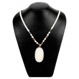 Golden Necklace with Pink & Green Pearl Pendant