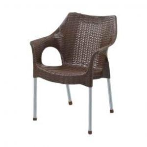 Rattan Plastic Chairs Dark Brown