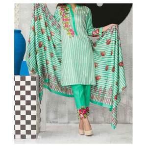 Pale Green Linen 3pc Unstiched Suit
