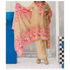 Fawn Printed 3pc Unstiched Suit